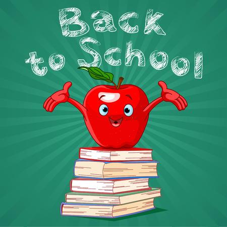 hardback: Back to school design of red apple on pile of books Illustration