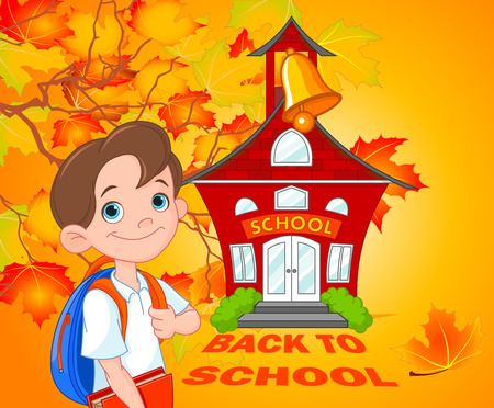 Illustration of schoolboy goes to school Çizim