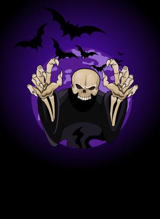 horrible: Halloween horrible Grim Reaper against the backdrop of the full moon
