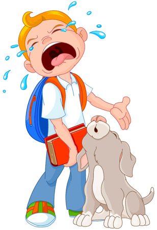 dog walk: Illustration of crying boy with dog walking to school Illustration
