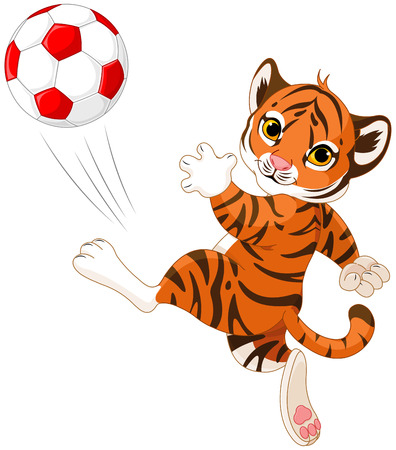 Illustration of little tiger playing soccer Ilustracja
