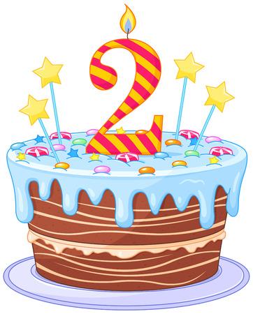 torta compleanno: Illustrazione della torta di compleanno decorata