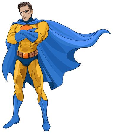 Illustration of very muscular Superhero Vettoriali
