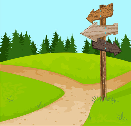 Illustration of wooden sign at the crossroads Stock Illustratie