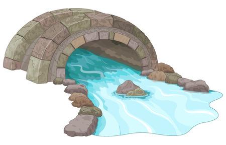 Illustratie van steen loopbrug Stock Illustratie