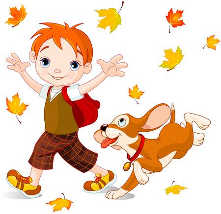 niños estudiando: Muchacho lindo con el perro camina a la escuela en el día de otoño