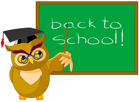 Illustration of a wise owl and chalkboard Illustration