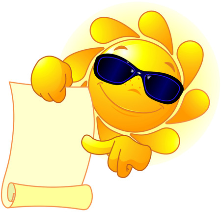 holds: Sun with sunglasses holds scroll