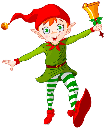 Christmas elf jumping and ringing in a bell