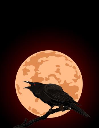 Illustratie van Halloween Kraai tegen een volle maan Stock Illustratie