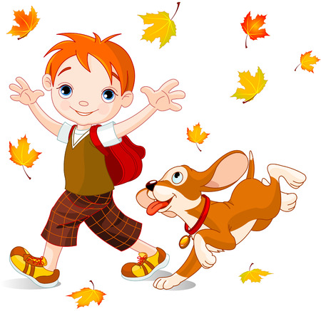 go to school: Muchacho lindo con el perro camina a la escuela en el día de otoño