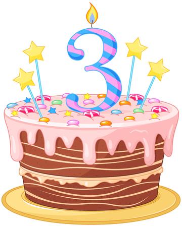 Illustration de gâteau d'anniversaire décoré Banque d'images - 44243031