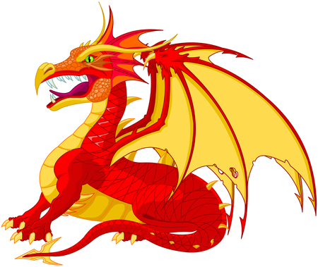 bestiary: Illustration of a red dragon