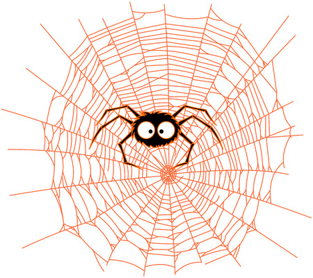 Illustration of very cute spider on web