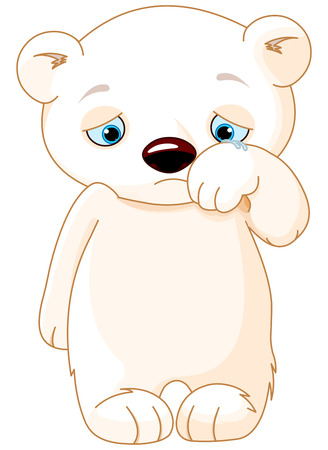 Illustration of sad polar bear Ilustracja