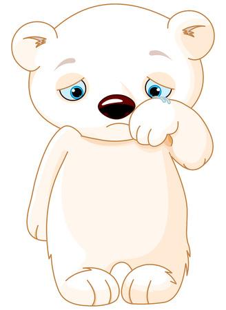 persona triste: Ilustración de oso polar triste
