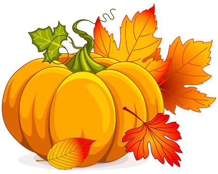 Illustration of Autumn Pumpkin and leaves Vectores