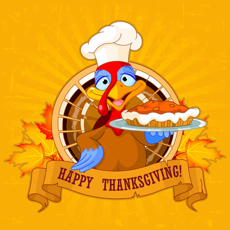 feather background: Thanksgiving turkey serving pumpkin pie