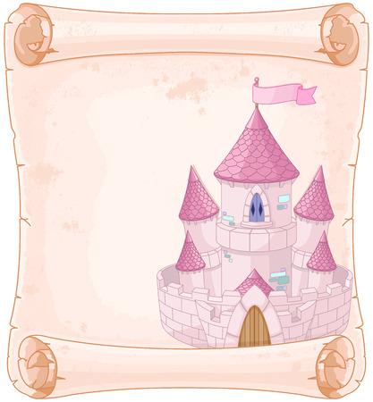 castillos de princesas: Cuento de hadas del dise�o castillo tema pergamino Vectores