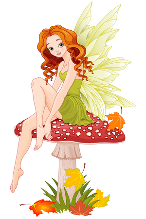 sits: Illustration of cute fairy sits on fly agaric