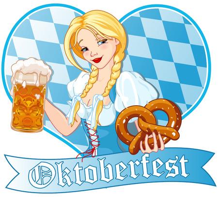 german beer: Funny German girl drinking beer