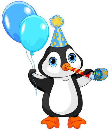 party animals: Illustration of cute penguin celebrating Illustration