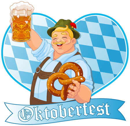 traje: cara Oktoberfest celebrando Ilustração