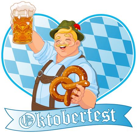 Oktoberfest guy celebrating Illustration