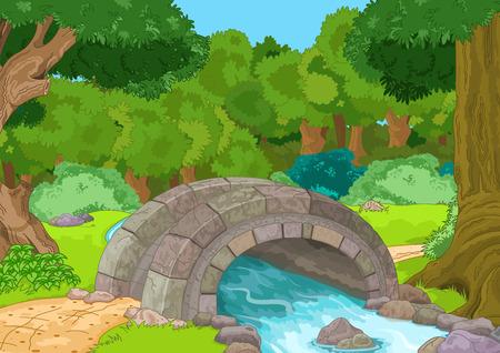 Ilustración del paisaje rural con puente de piedra
