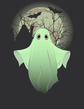 かわいい幽霊のハロウィーン招待状  イラスト・ベクター素材