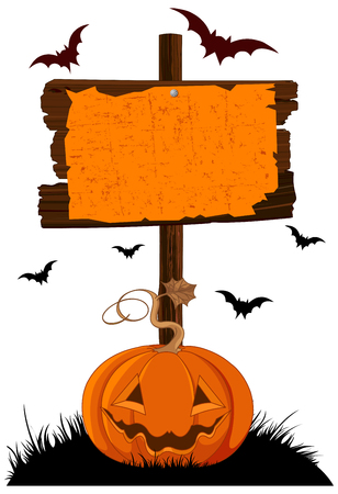 Illustration of Halloween wooden sign and pumpkin Stock Illustratie