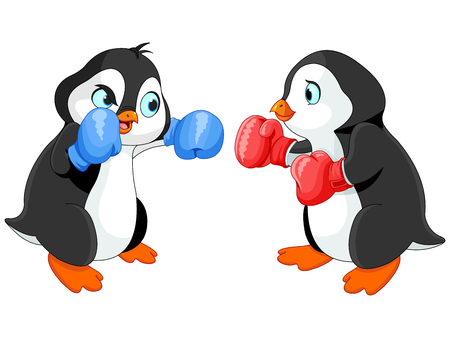 boxers: Illustration of cute penguin boxing