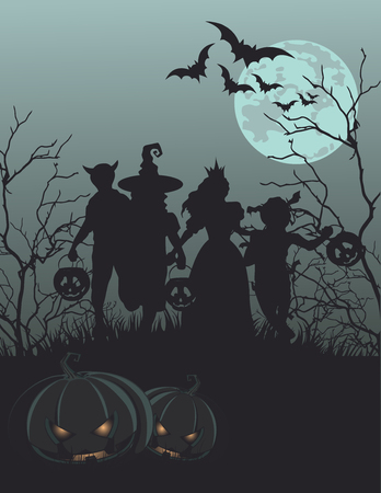 person silhouette: Halloween background with silhouettes of children trick or treating Illustration