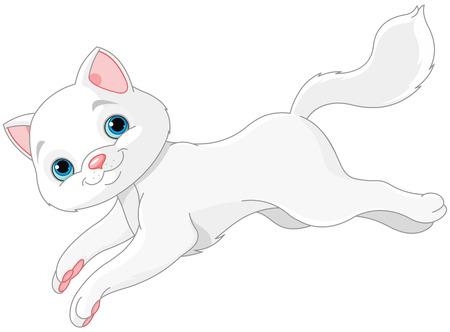 Illustration of white kitten