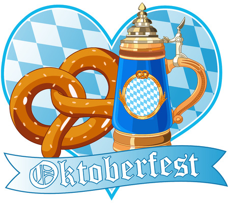 blau weiss: Decorative Oktoberfest design with pretzel and mug
