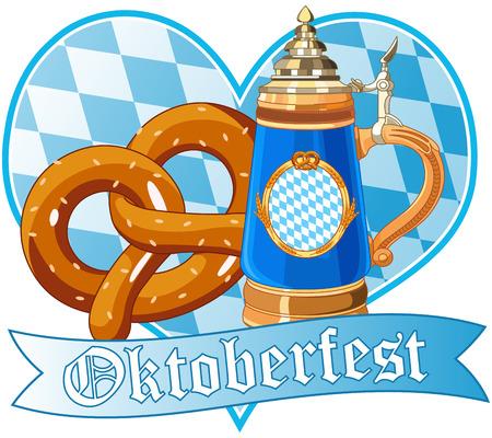 Diseño de Oktoberfest decorativo con el pretzel y la taza Foto de archivo - 45166525
