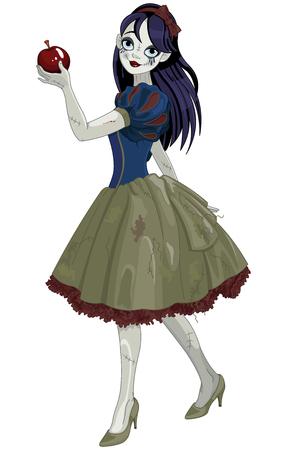 Pretty girl wearing Halloween Snow White costume