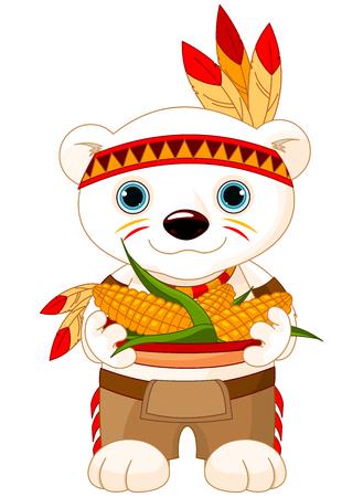 cherokee: Illustration of cute Bear wears Native American costume