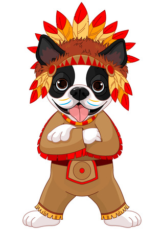 boston terrier: Illustration of cute Boston terrier wears Native American costume