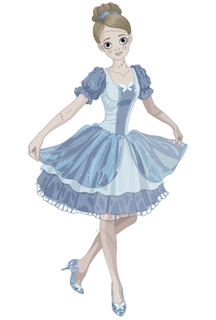 wearing slippers: Illustration of Halloween Cinderella wearing crystal slippers