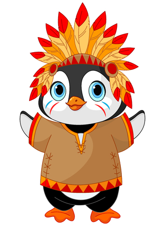 Illustration of cute Penguin wears Native American costume