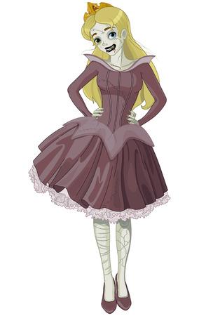 Illustration of Halloween girl dressed Sleeping Beauty costume