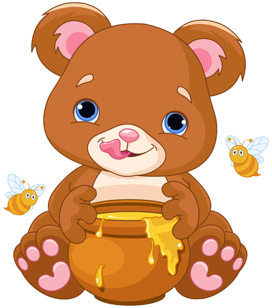 bees: Illustration of cute bear preparing to eat honey