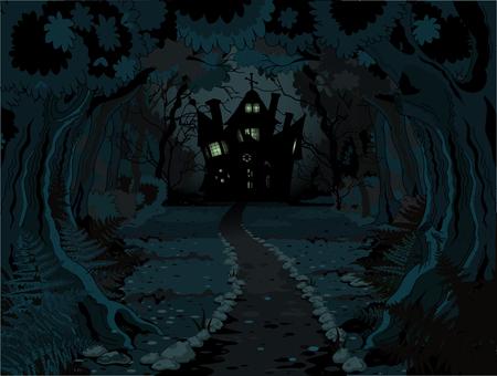 brujas caricatura: Ilustración de la casa embrujada espeluznante en la noche de fondo