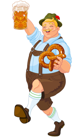 beer party: Illustration of Oktoberfest guy celebrating