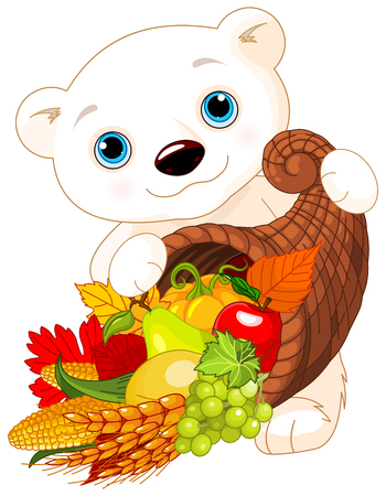 plenty: Illustration of Polar Bear Holds Horn Of Plenty