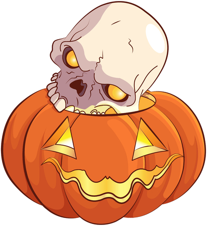 making a face: Illustration of skull and pumpkin Stock Photo