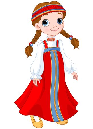 Illustration of cute girl dressed in Russian national dress Stok Fotoğraf