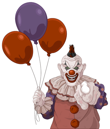 The scary clown holds balloons Imagens