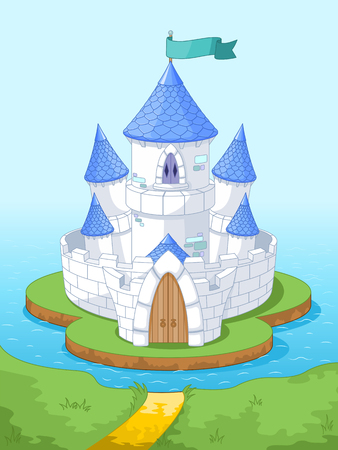 Illustration of magic princess castle on the island